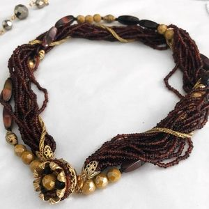 VINTAGE MULTI STRAND BEADED STATEMENT NECKLACE